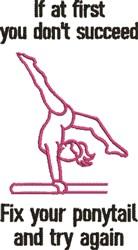 Gymnastics & Ponytails embroidery design