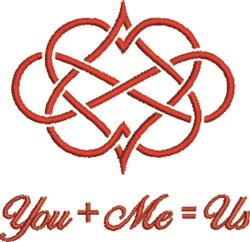 You + Me = Us embroidery design