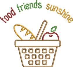 Food, Friends, Sunshine embroidery design