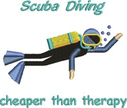 Diving Cheaper Than Therapy embroidery design