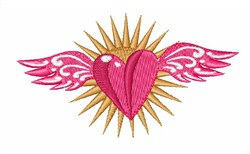 Heart & Wings embroidery design