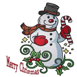 Merry Christmas Snowman embroidery design