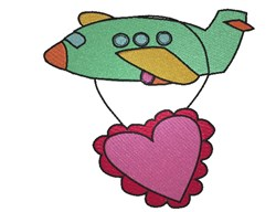 Valentines Day Airplane embroidery design