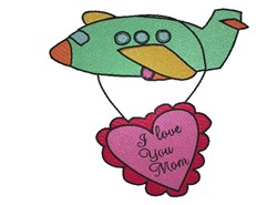 I Love You Airplane embroidery design