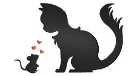 Cat & Mouse Silhouette embroidery design