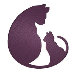 Cat & Kitten Silhouette embroidery design