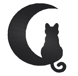 Cat & Moon Silhouette embroidery design