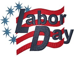 Labor Day Flag embroidery design