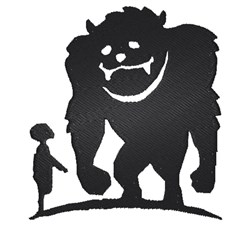 Boy & Bigfoot Silhouette embroidery design