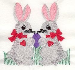 Bunnies & Egg embroidery design