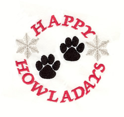 Happy Howladays Paws embroidery design