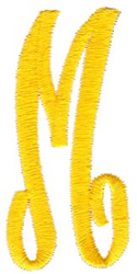 Swirl Monogram Letter M embroidery design