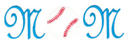 Baseball Mom Cursive embroidery design