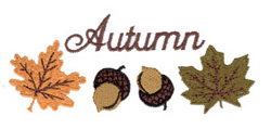 Autumn Leaves and Acorns embroidery design