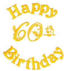 Happy 60th Birthday embroidery design
