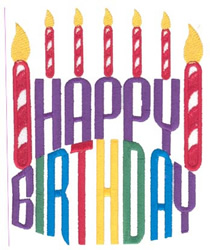 Happy Birthday Candles embroidery design
