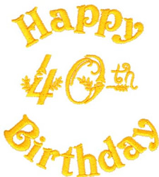 40th Birthday embroidery design
