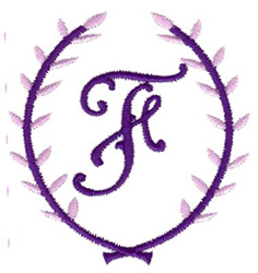Crest Monogram F embroidery design