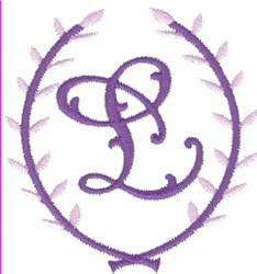 Crest Monogram L embroidery design
