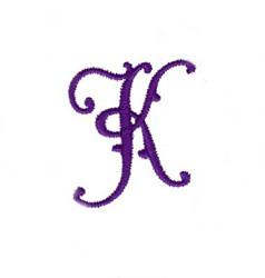 Elegant Vine Monogram K embroidery design