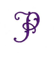 Elegant Vine Monogram P embroidery design