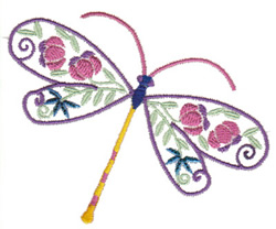 Flowery Dragonfly embroidery design