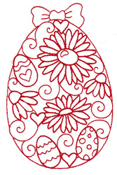 Flower Redwork Egg embroidery design