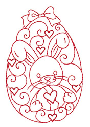 Bunny Redwork Egg embroidery design
