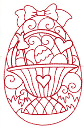 Redwork Basket Egg embroidery design