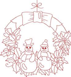 Redwork Snow Poeple embroidery design
