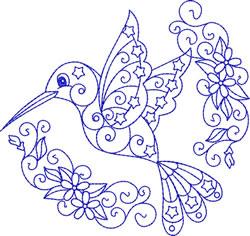 Hummingbird Bluework embroidery design