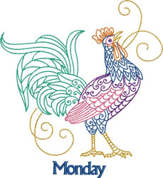 Monday Rooster embroidery design