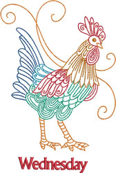 Wednesday Rooster embroidery design