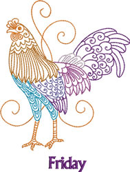 Friday Rooster embroidery design