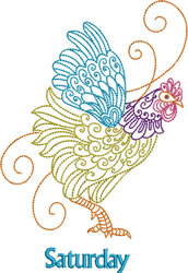 Saturday Rooster embroidery design