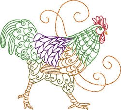 Stepping Rooster embroidery design