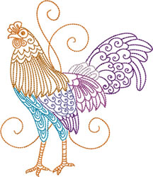 Left Facing Rooster embroidery design