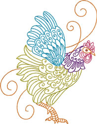 Right Facing Rooster embroidery design