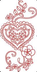 Valentines Flower Heart embroidery design