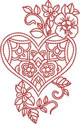 Valentines Redwork Design embroidery design