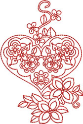 Valentines Floral Heart embroidery design