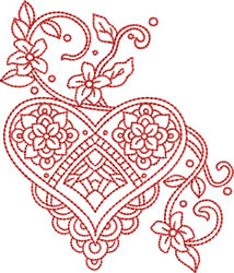 Valentines Redwork embroidery design