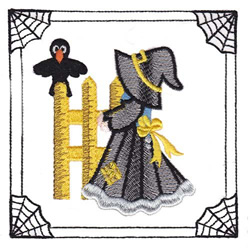 Sunbonnet Sue Witch embroidery design