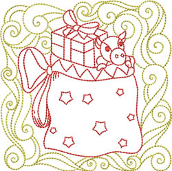 Redwork Toy Bag embroidery design