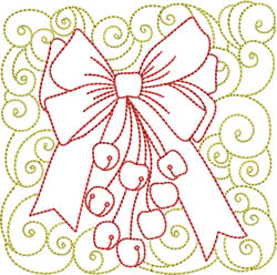 Redwork Christmas Bow embroidery design