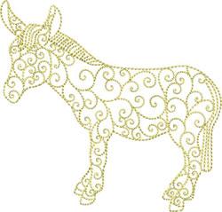 Redwork Donkey embroidery design