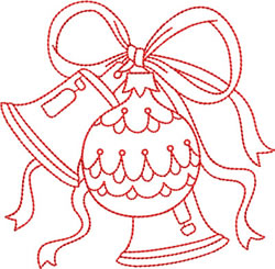 Christmas Redwork Bells embroidery design