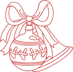 Redwork Christmas Bulbs embroidery design
