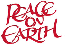 Peace on Earth Text embroidery design