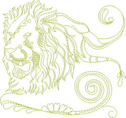 Roaring Lion Head embroidery design